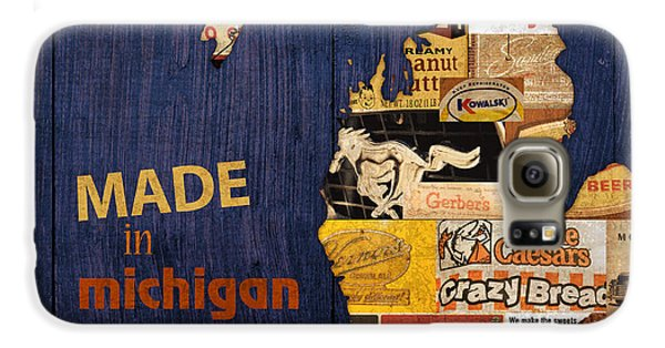 Vegetables Galaxy S6 Case - Made In Michigan Products Vintage Map On Wood by Design Turnpike