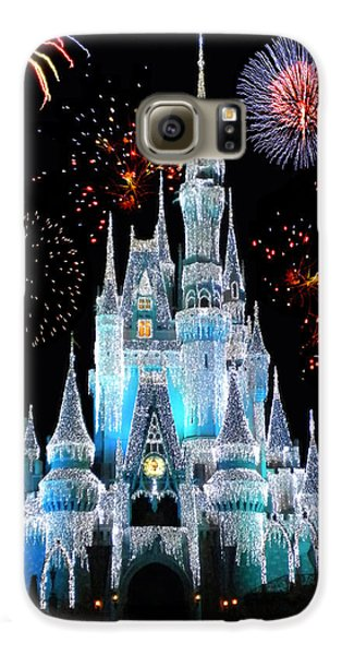Castle Galaxy S6 Case - Magic Kingdom Castle In Frosty Light Blue With Fireworks 06 by Thomas Woolworth