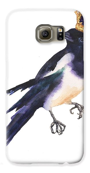 Magpie Watercolor Galaxy S6 Case by Alison Fennell