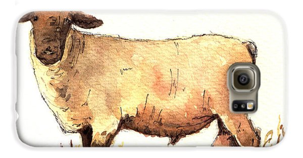 Male Sheep Black Galaxy S6 Case by Juan  Bosco