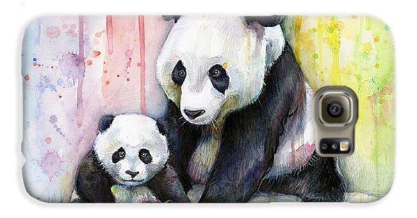 Panda Watercolor Mom And Baby Galaxy S6 Case