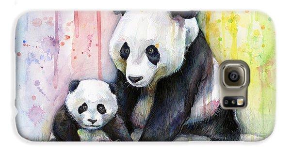 Panda Watercolor Mom And Baby Galaxy S6 Case by Olga Shvartsur