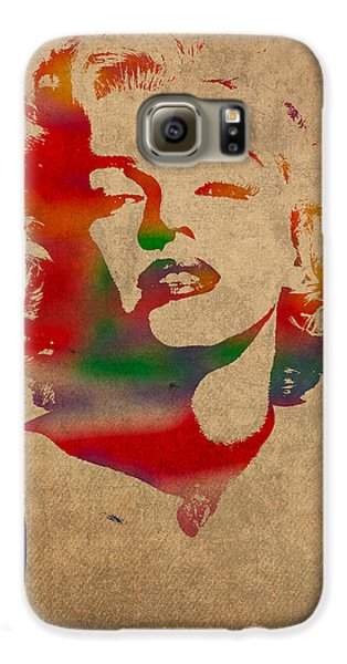Marilyn Monroe Watercolor Portrait On Worn Distressed Canvas Galaxy S6 Case