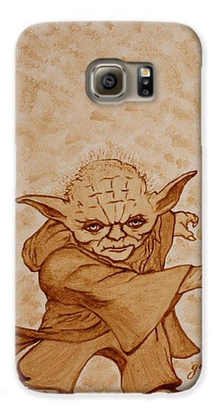 Galaxy S6 Case featuring the painting Master Yoda Jedi Fight Beer Painting by Georgeta  Blanaru