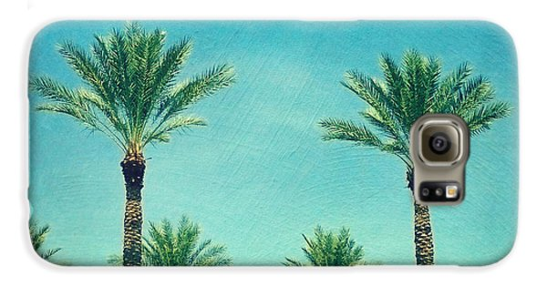 Travel Galaxy S6 Case - Meet Me In Paradise- Palm Trees With Typography by Sylvia Cook