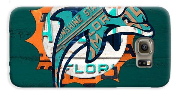 Miami Dolphins Football Team Retro Logo Florida License Plate Art Galaxy S6 Case by Design Turnpike