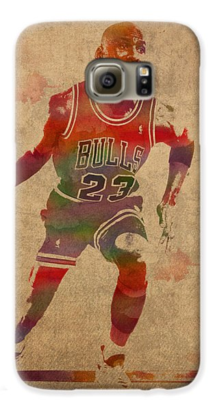Michael Jordan Chicago Bulls Vintage Basketball Player Watercolor Portrait On Worn Distressed Canvas Galaxy S6 Case by Design Turnpike