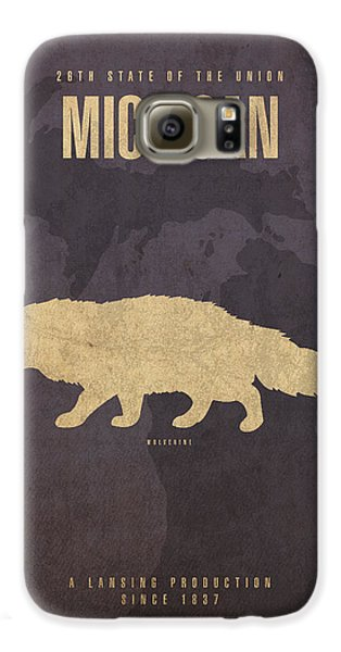 Michigan State Facts Minimalist Movie Poster Art  Galaxy S6 Case by Design Turnpike