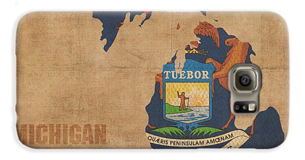 Michigan State Flag Map Outline With Founding Date On Worn Parchment Background Galaxy S6 Case by Design Turnpike