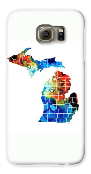 Michigan State Map - Counties By Sharon Cummings Galaxy S6 Case by Sharon Cummings