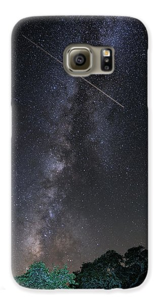 Milky Way Vertical Panorama At Enchanted Rock State Natural Area - Texas Hill Country Galaxy S6 Case by Silvio Ligutti