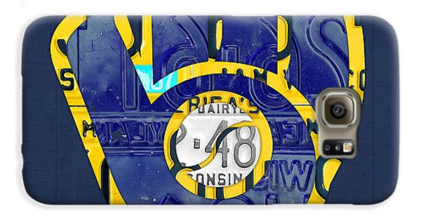 Milwaukee Brewers Vintage Baseball Team Logo Recycled Wisconsin License Plate Art Galaxy S6 Case by Design Turnpike