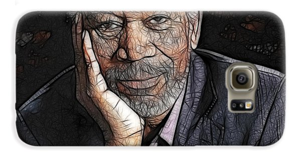 Galaxy S6 Case featuring the painting Morgan Freeman  by Georgeta Blanaru