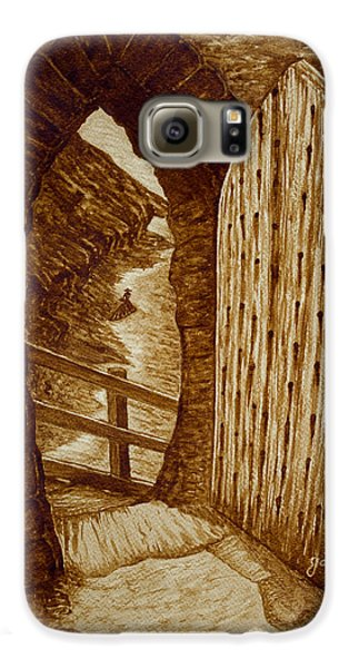 Galaxy S6 Case featuring the painting Morning Walk On The Beach Original Coffee Painting by Georgeta Blanaru