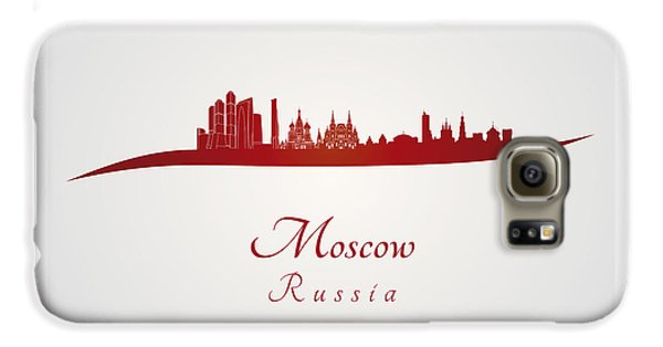 Moscow Skyline In Red Galaxy S6 Case