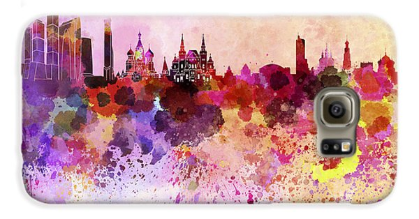 Moscow Skyline In Watercolor Background Galaxy S6 Case