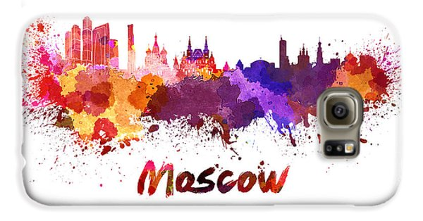 Moscow Skyline In Watercolor Galaxy S6 Case by Pablo Romero
