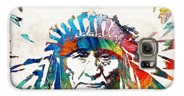 Bull Galaxy S6 Case - Native American Art - Chief - By Sharon Cummings by Sharon Cummings