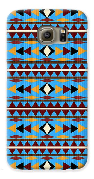 Navajo Blue Pattern Galaxy S6 Case by Christina Rollo