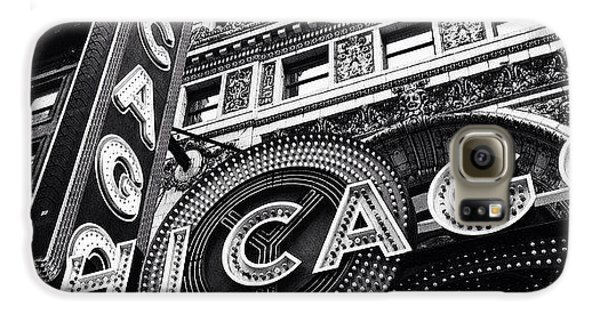 Architecture Galaxy S6 Case - Chicago Theatre Sign Black And White Photo by Paul Velgos