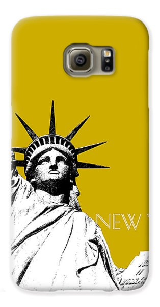 New York Skyline Statue Of Liberty - Gold Galaxy S6 Case by DB Artist