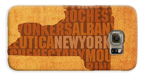 New York Word Art State Map On Canvas Galaxy S6 Case