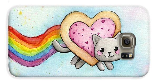 Cat Galaxy S6 Case - Nyan Cat Valentine Heart by Olga Shvartsur