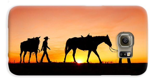 Horse Galaxy S6 Case - Off To The Barn by Todd Klassy