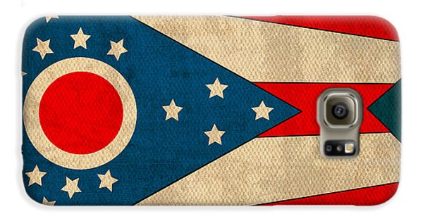 Ohio State Flag Art On Worn Canvas Galaxy S6 Case by Design Turnpike