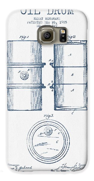 Drum Galaxy S6 Case - Oil Drum Patent Drawing From 1905 -  Blue Ink by Aged Pixel