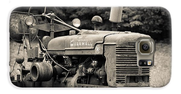 Old Tractor Black And White Square Galaxy S6 Case by Edward Fielding