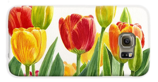 Orange And Yellow Tulips Horizontal Design Galaxy S6 Case by Sharon Freeman