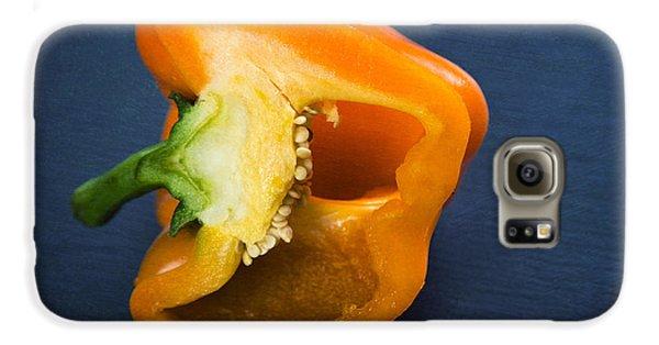 Orange Bell Pepper Blue Texture Galaxy S6 Case by Matthias Hauser
