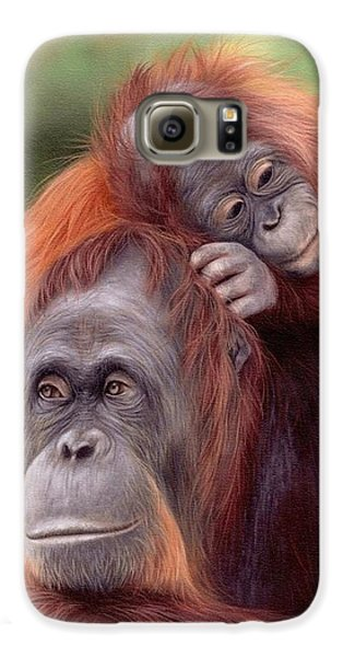 Orangutans Painting Galaxy S6 Case by Rachel Stribbling