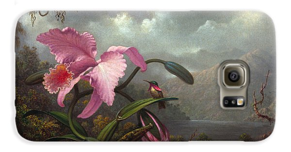 Orchid Galaxy S6 Case - Orchid And Hummingbir by Martin Johnson Heade