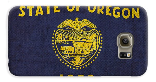Oregon State Flag Art On Worn Canvas Galaxy S6 Case by Design Turnpike