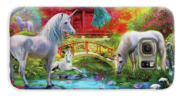Galaxy S6 Case featuring the drawing Orietnal Unicorns by Jan Patrik Krasny
