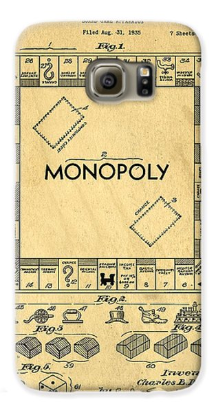 Original Patent For Monopoly Board Game Galaxy S6 Case by Edward Fielding