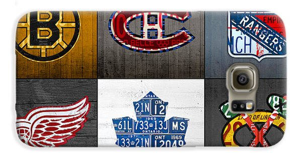 Original Six Hockey Team Retro Logo Vintage Recycled License Plate Art Galaxy S6 Case