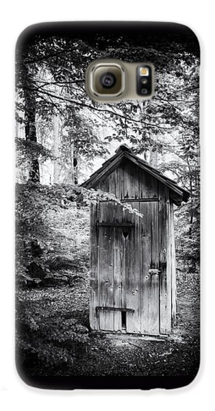 Outhouse In The Forest Black And White Galaxy S6 Case by Matthias Hauser
