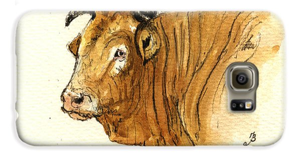 Bull Galaxy S6 Case - Ox Head Painting Study by Juan  Bosco