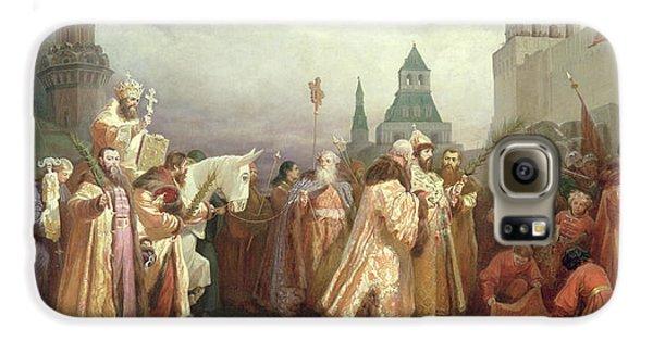 Palm Sunday Procession Under The Reign Of Tsar Alexis Romanov Galaxy S6 Case by Viatcheslav Grigorievitch Schwarz