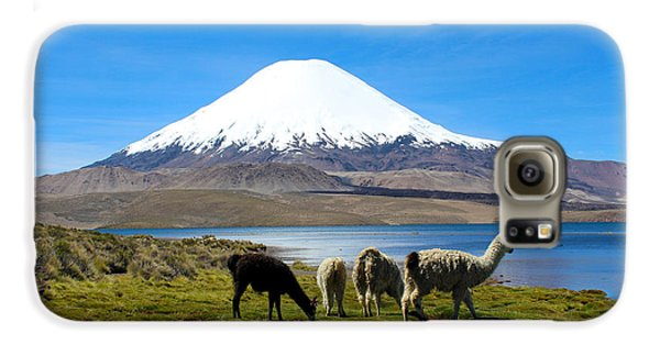 Parinacota Volcano Lake Chungara Chile Galaxy S6 Case by Kurt Van Wagner