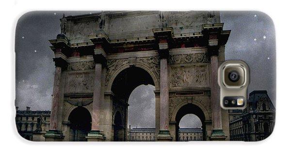 Paris Arc Du Carousel - Louvre Museum Arc De Triomphe - Starry Night Blue Paris Louvre Courtyard Galaxy S6 Case