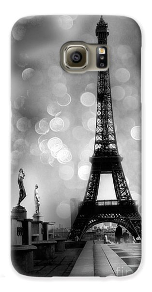 Paris Eiffel Tower Surreal Black And White Photography - Eiffel Tower Bokeh Surreal Fantasy Night  Galaxy S6 Case by Kathy Fornal