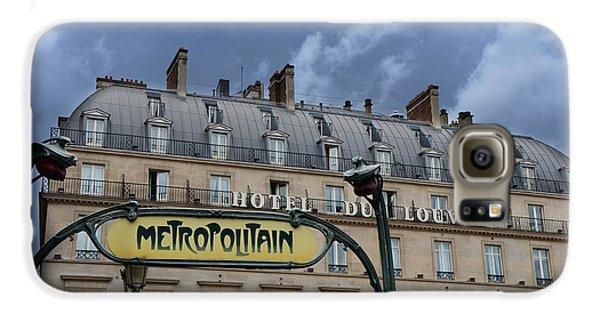 Paris Metropolitain Sign At The Paris Hotel Du Louvre Metropolitain Sign Art Noueveau Art Deco Galaxy S6 Case by Kathy Fornal