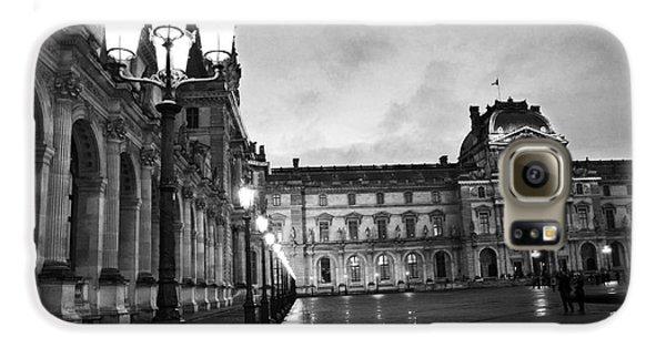 Paris Louvre Museum Lanterns Lamps - Paris Black And White Louvre Museum Architecture Galaxy S6 Case by Kathy Fornal