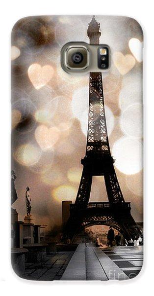 Paris Surreal Fantasy Sepia Black Eiffel Tower Bokeh Hearts And Circles - Paris Eiffel Tower Hearts  Galaxy S6 Case
