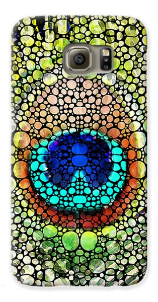 Peacock Feather - Stone Rock'd Art By Sharon Cummings Galaxy S6 Case by Sharon Cummings