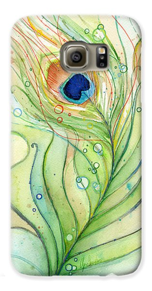 Peacock Feather Watercolor Galaxy S6 Case by Olga Shvartsur